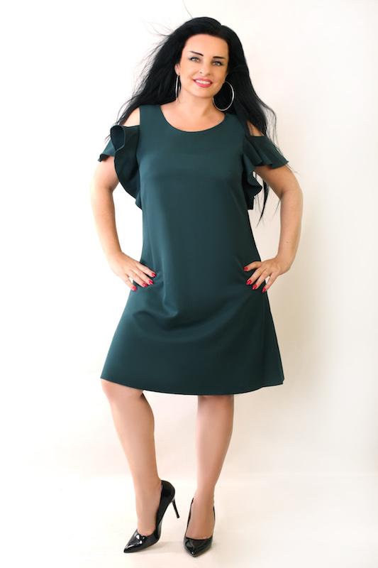 3984ec4f0742f7 Sukienka Fabiani trapezowa butelkowa zieleń – Oscarfashion